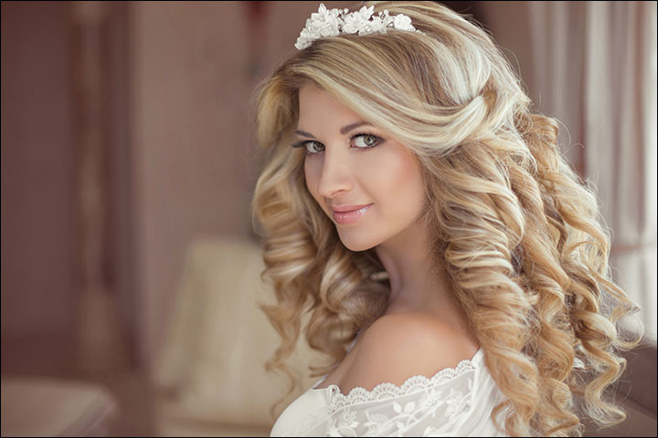 23 Gorgeous Bridal Hairstyles For Curly Hair Inside Long Curly Bridal Hairstyles With A Tiara (View 4 of 25)