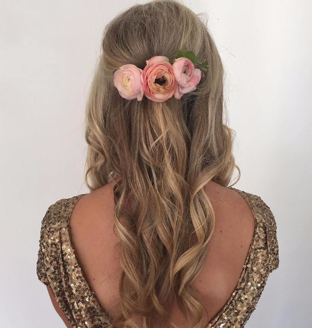 24 Beautiful Bridesmaid Hairstyles For Any Wedding – The Goddess Intended For Simple Halfdo Wedding Hairstyles For Short Hair (View 18 of 25)
