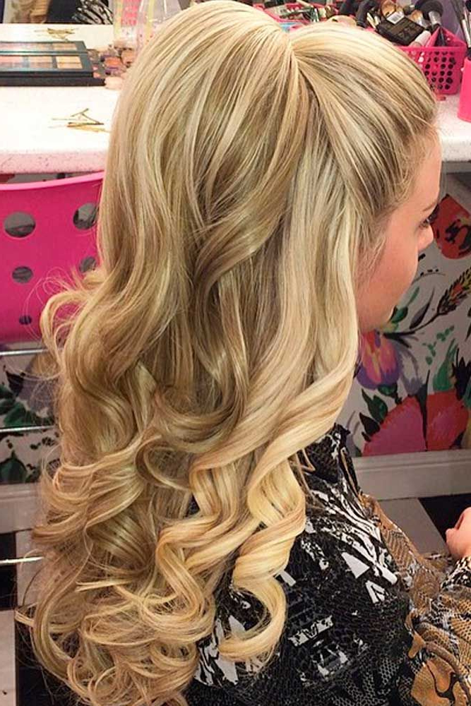 25 Most Attractive And Beautiful Half Up Half Down Hairstyles Throughout Half Up Blonde Ombre Curls Bridal Hairstyles (View 25 of 25)