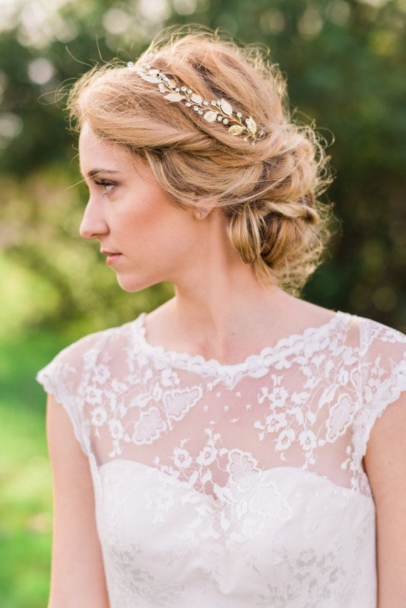 25 Most Coolest Wedding Hairstyles With Headband – Haircuts Throughout High Updos With Jeweled Headband For Brides (View 4 of 25)