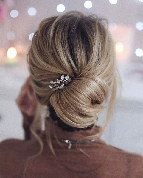 27 Casual Wedding Hair Ideas | Happywedd Intended For French Twist Wedding Updos With Babys Breath (View 21 of 25)