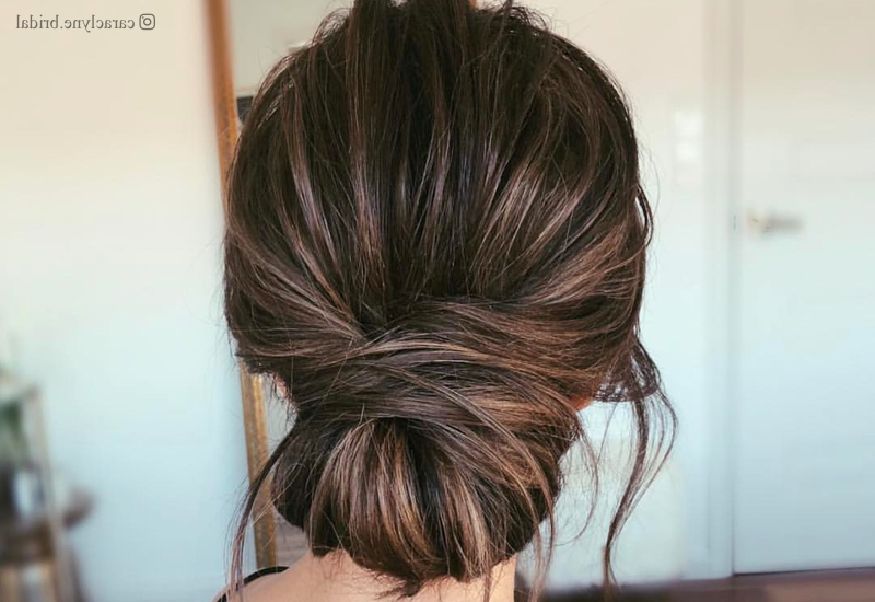 27 Easy Diy Date Night Hairstyles For 2019 Within Destructed Messy Curly Bun Hairstyles For Wedding (View 11 of 25)