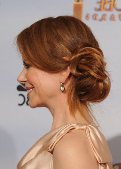 27 Elegant Looking Mother Of The Bride Hairstyles – Haircuts Regarding Low Messy Bun Hairstyles For Mother Of The Bride (View 19 of 25)