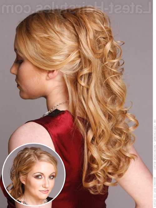 27 Prettiest Half Up Half Down Prom Hairstyles For 2019 Throughout Half Up Blonde Ombre Curls Bridal Hairstyles (View 22 of 25)
