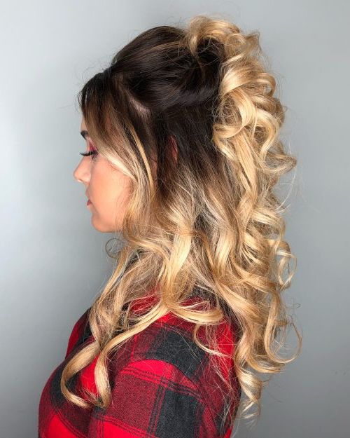 27 Prettiest Half Up Half Down Prom Hairstyles For 2019 Throughout Half Up Blonde Ombre Curls Bridal Hairstyles (View 8 of 25)