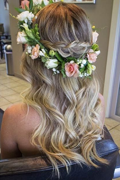 28 Trendy Wedding Hairstyles For Chic Brides   Stayglam Hairstyles Throughout Floral Crown Half Up Half Down Bridal Hairstyles (View 3 of 25)