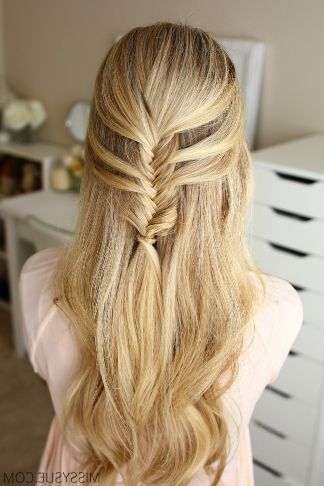 3 Fall Half Up Hairstyles | Missy Sue For Diagonal Waterfall Braid In Half Up Bridal Hairstyles (View 5 of 25)