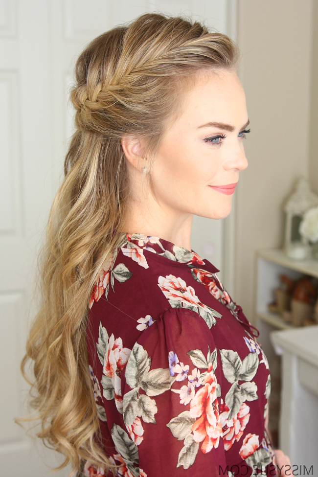 3 Fall Half Up Hairstyles | Missy Sue Within Diagonal Waterfall Braid In Half Up Bridal Hairstyles (View 4 of 25)