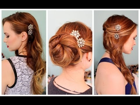 3 Quick Hairstyles For Sparkly Hair Accessories! – Youtube Inside Curled Side Updo Hairstyles With Hair Jewelry (View 11 of 25)