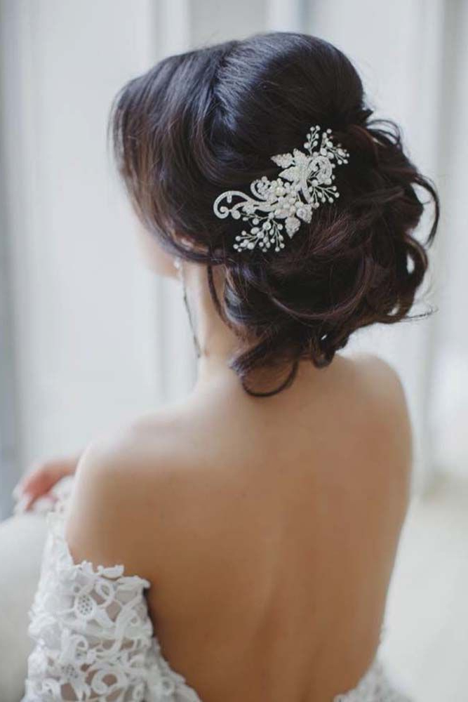 30 Amazing Wedding Hairstyles With Headpiece | Hair | Pinterest Pertaining To Pinned Brunette Ribbons Bridal Hairstyles (View 13 of 25)