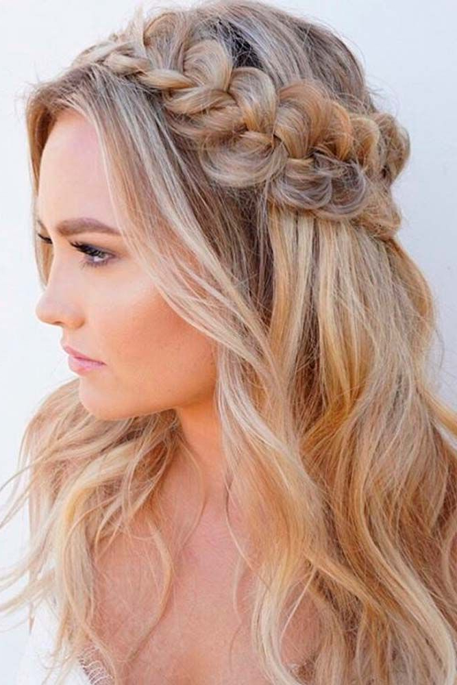 30 Half Up Half Down Wedding Hairstyles Ideas Easy | Hair & Beauty Intended For Medium Half Up Half Down Bridal Hairstyles With Fancy Knots (View 11 of 25)