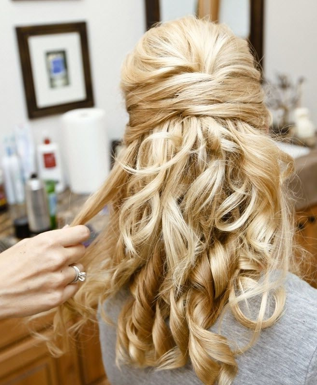30 Hottest Bridesmaid Hairstyles For Long Hair – Popular Haircuts Throughout Twists And Curls In Bridal Half Up Bridal Hairstyles (View 10 of 25)