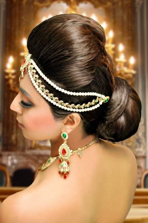 30 Most Beautiful Indian Wedding Hairstyles – Hairstyle Insider For Bouffant And Chignon Bridal Updos For Long Hair (View 19 of 25)