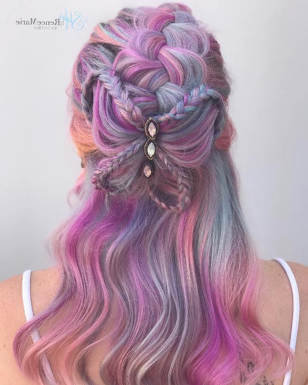 30+ Stunning Colored Wedding Hairstyles Throughout Braided Lavender Bridal Hairstyles (View 20 of 25)