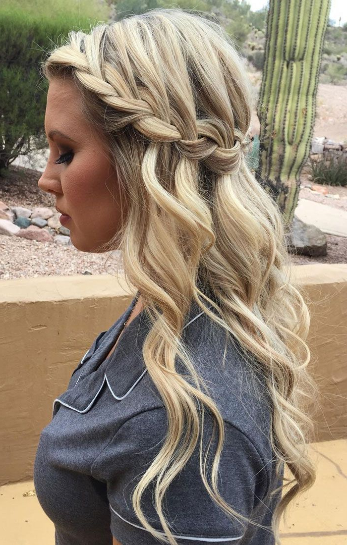 31 Cute And Elegant Braided Hairstyles For Women – Haircuts Intended For Diagonal Waterfall Braid In Half Up Bridal Hairstyles (View 14 of 25)