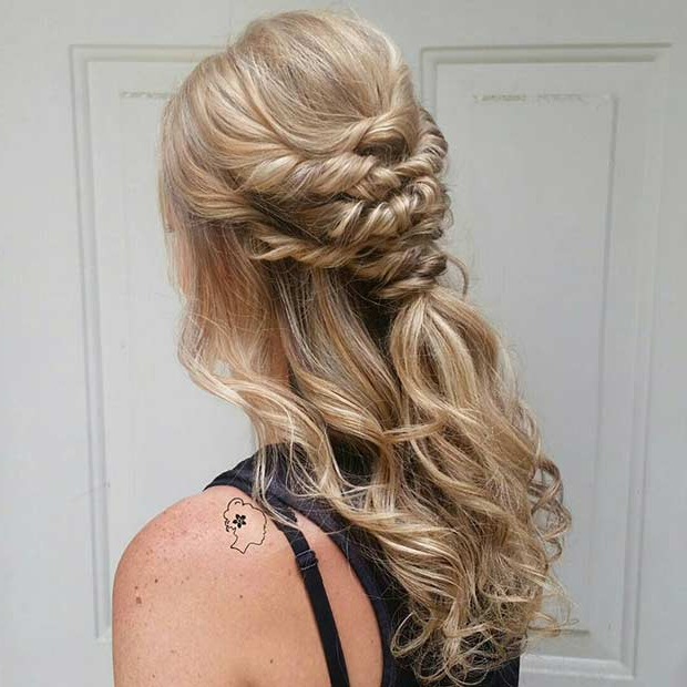 31 Half Up, Half Down Hairstyles For Bridesmaids | Stayglam Intended For Wedding Semi Updo Bridal Hairstyles With Braid (View 14 of 25)
