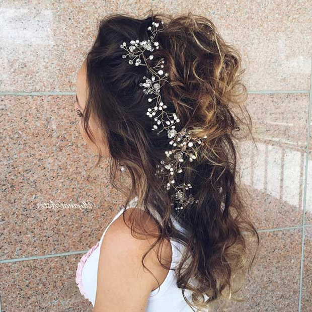 31 Half Up, Half Down Hairstyles For Bridesmaids | Stayglam Regarding Twists And Curls In Bridal Half Up Bridal Hairstyles (View 20 of 25)