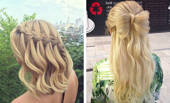 31 Half Up, Half Down Prom Hairstyles | Stayglam Inside Medium Half Up Half Down Bridal Hairstyles With Fancy Knots (View 21 of 25)