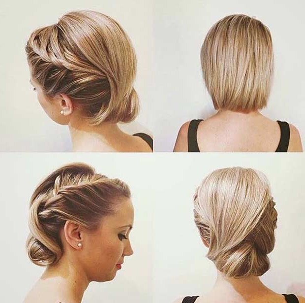 31 Wedding Hairstyles For Short To Mid Length Hair | Page 2 Of 3 Inside Braided Bob Short Hairdo Bridal Hairstyles (View 8 of 25)