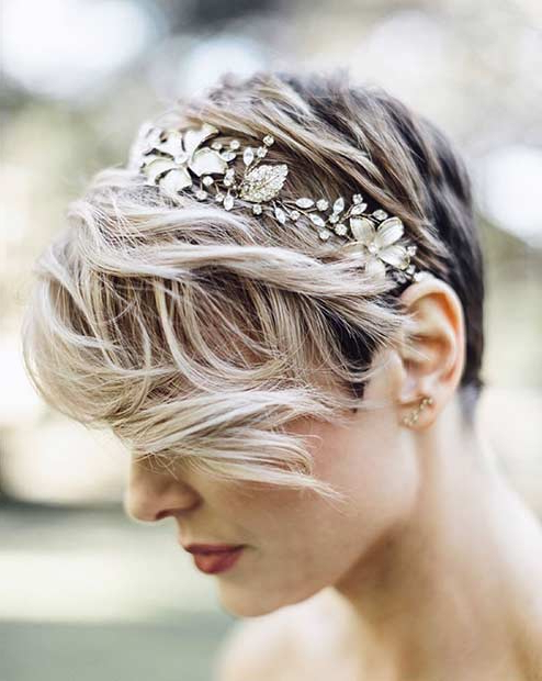 31 Wedding Hairstyles For Short To Mid Length Hair   Stayglam Pertaining To Bridal Chignon Hairstyles With Headband And Veil (View 17 of 25)
