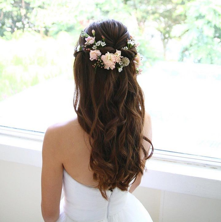 32 Pretty Half Up Half Down Hairstyles – Partial Updo Wedding In Pulled Back Half Updo Bridal Hairstyles With Comb (View 2 of 25)