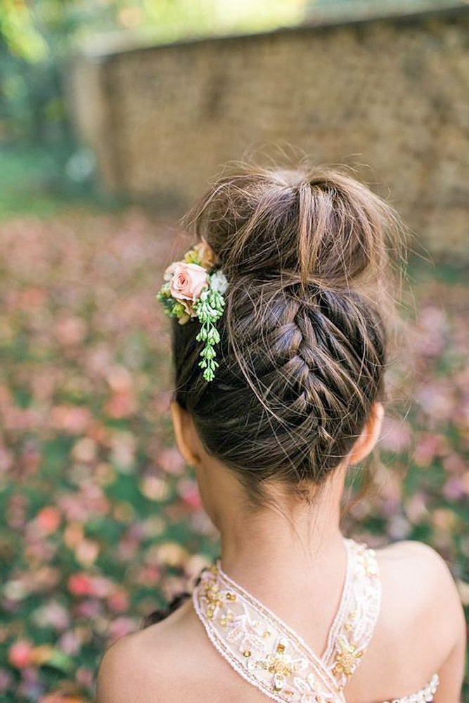 33 Cute Flower Girl Hairstyles (2017 Update | Braids | Wedding Within Double Braid Bridal Hairstyles With Fresh Flowers (View 4 of 25)