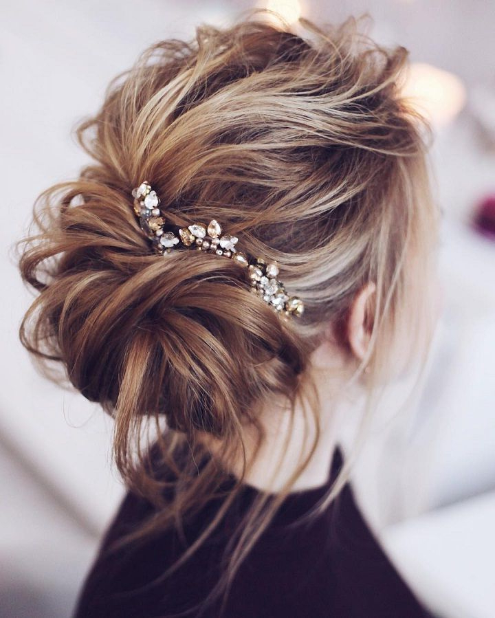 33 Half Up Half Down Wedding Hairstyles Ideas | Hair & Beauty Pertaining To Wavy Low Bun Bridal Hairstyles With Hair Accessory (View 8 of 25)