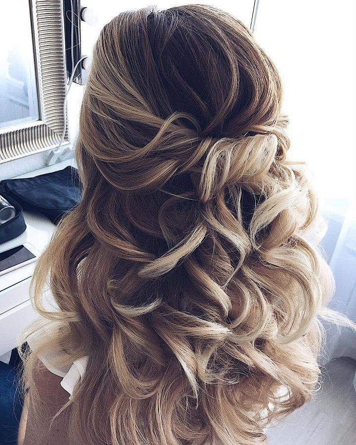 33 Half Up Half Down Wedding Hairstyles Ideas | Wedding Hair Intended For Half Up Blonde Ombre Curls Bridal Hairstyles (View 4 of 25)