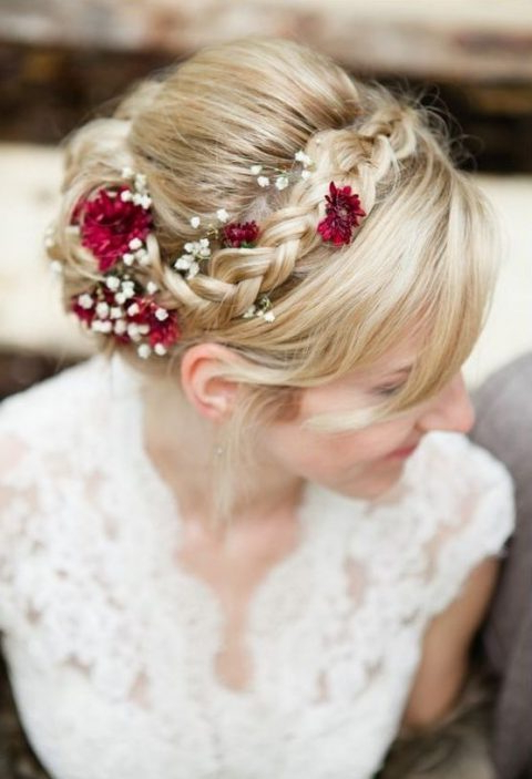 35 Beautiful Fall Wedding Hairstyles | Happywedd Throughout French Twist Wedding Updos With Babys Breath (View 25 of 25)