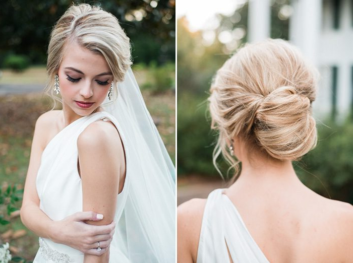 35 Bridal Updos To Recreate For Your Big Day | Junebug Weddings Throughout Sleek Low Bun Rosy Outlook Wedding Updos (View 20 of 25)