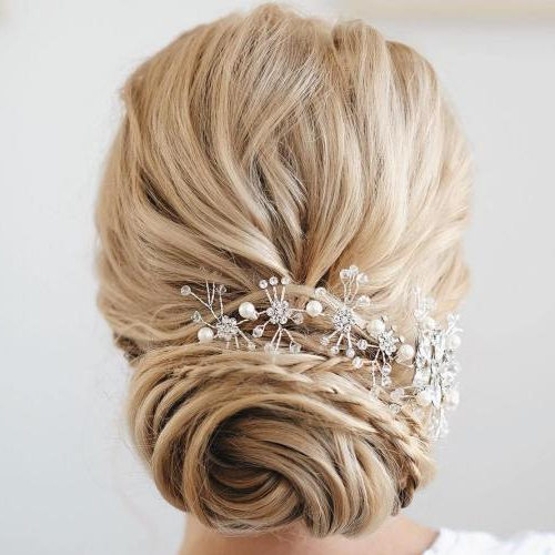 35 Chic Wedding Hair Updos For Elegant Brides – My Stylish Zoo In French Twist Wedding Updos With Babys Breath (View 10 of 25)