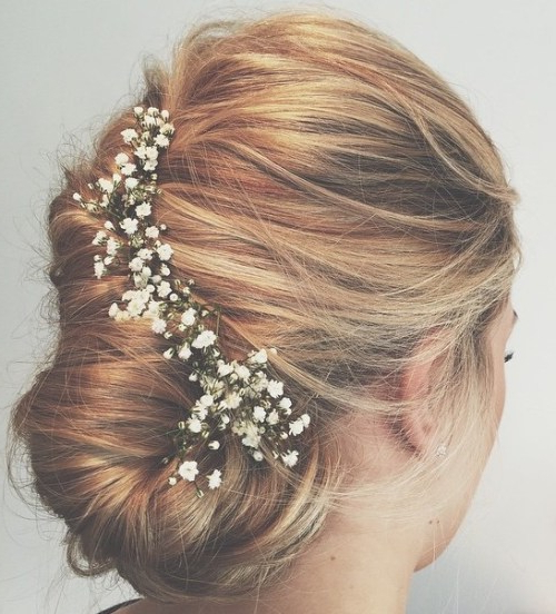 35 Chic Wedding Hair Updos For Elegant Brides – My Stylish Zoo Inside Sleek Bridal Hairstyles With Floral Barrette (View 16 of 25)