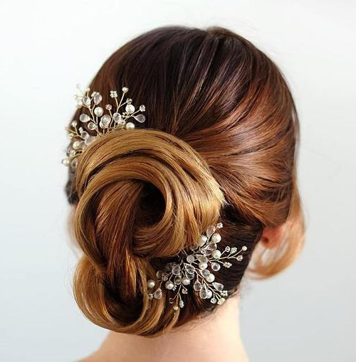 35 Chic Wedding Hair Updos For Elegant Brides – My Stylish Zoo Throughout Sleek Low Bun Rosy Outlook Wedding Updos (View 10 of 25)