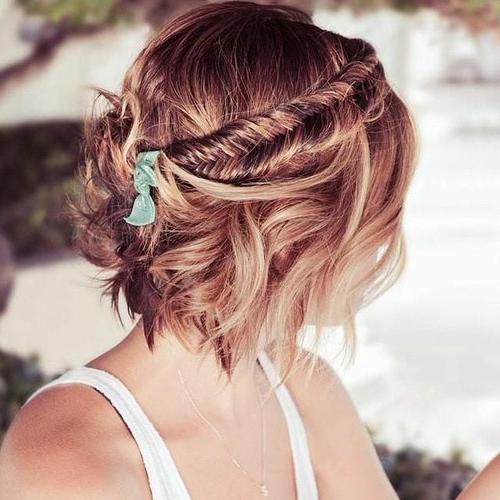 35 Modern Romantic Wedding Hairstyles For Short Hair Inside Braided Bob Short Hairdo Bridal Hairstyles (View 10 of 25)