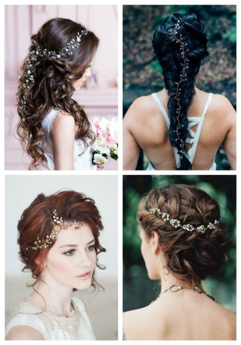 35 Stunning Bridal Hair Vine Ideas | Happywedd Intended For Braided Wedding Hairstyles With Subtle Waves (View 18 of 25)