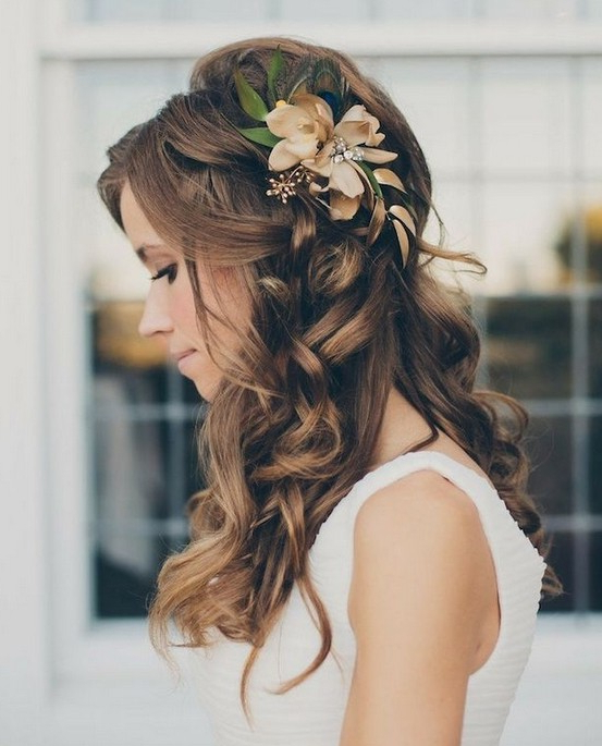 35 Wedding Hairstyles: Discover Next Year's Top Trends For Brides With Regard To Twists And Curls In Bridal Half Up Bridal Hairstyles (View 19 of 25)