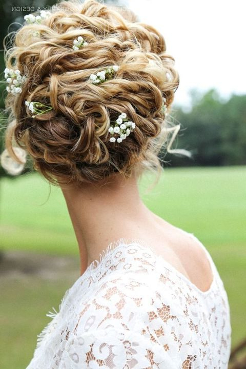 36 Inspiring Spring Wedding Hairstyle Ideas | Happywedd Within French Twist Wedding Updos With Babys Breath (View 23 of 25)