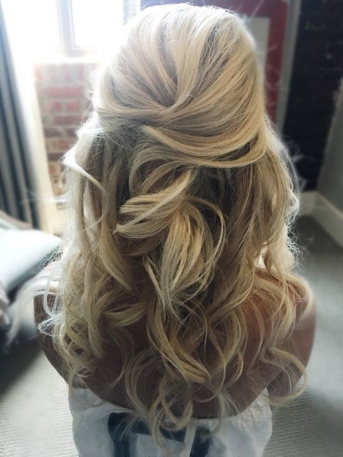 37 Beautiful Half Up Half Down Hairstyles For The Modern Bride With Golden Half Up Half Down Curls Bridal Hairstyles (View 15 of 25)