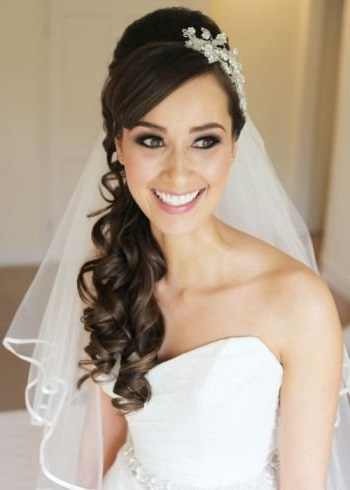 37 Half Up Half Down Wedding Hairstyles Anyone Would Love In Side Curls Bridal Hairstyles With Tiara And Lace Veil (View 12 of 25)