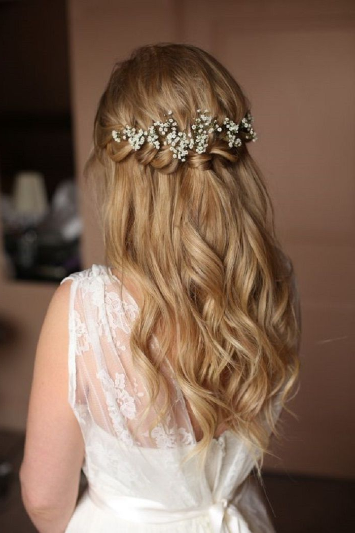Featured Photo of Golden Half Up Half Down Curls Bridal Hairstyles