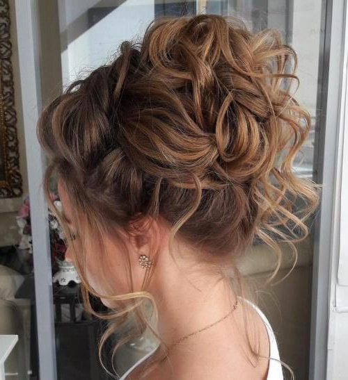 40 Creative Updos For Curly Hair In 2019 | Hairstyles | Pinterest Inside Large Curly Bun Bridal Hairstyles With Beaded Clip (View 7 of 25)