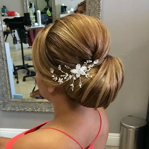 40 Elegant Wedding Updos | Page 16 for Sleek Bridal Hairstyles With Floral Barrette