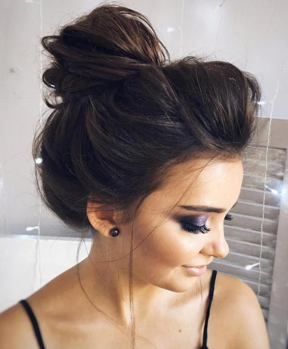 40 Messy Bun Hairstyles To Refresh Your Casual Look | Luscious Locks With Regard To Sleek And Voluminous Beehive Bridal Hairstyles (View 4 of 25)