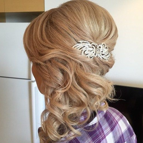 40 Picture Perfect Hairstyles For Long Thin Hair | Our Wedding Intended For Curly Wedding Updos With A Bouffant (View 5 of 25)