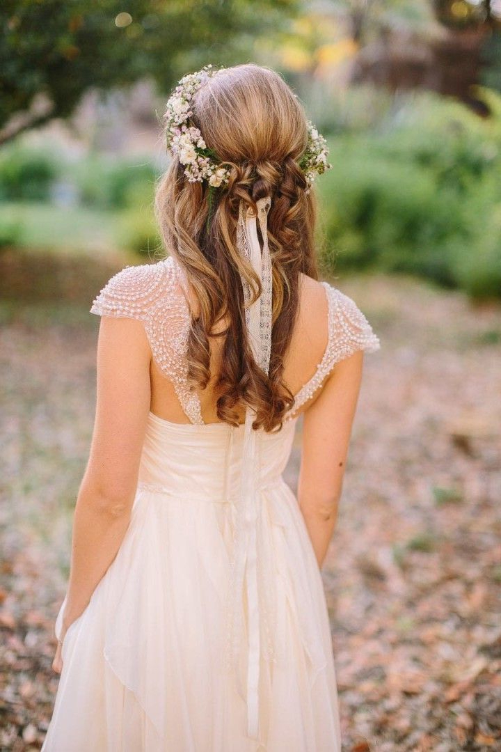 40 Stunning Half Up Half Down Wedding Hairstyles With Tutorial Within Floral Crown Half Up Half Down Bridal Hairstyles (View 18 of 25)
