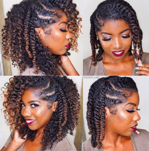 40 Twist Hairstyles For Natural Hair 2017 | Herinterest/ For Two Toned Twist Updos For Wedding (View 8 of 25)