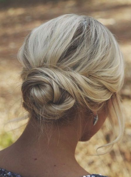 40 Wedding Hairstyles For Short To Mid Length Hair | Herinterest/ In Bold Blonde Bun Bridal Updos (View 18 of 25)