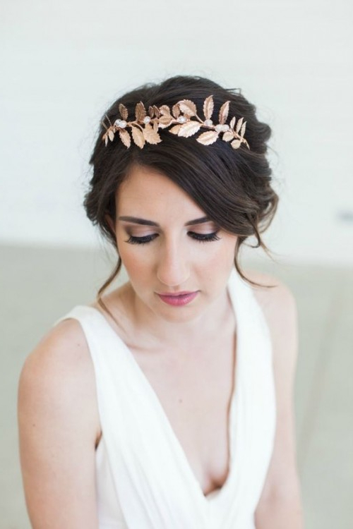 40 Wedding Hairstyles For Short To Mid Length Hair | Herinterest/ Pertaining To Neat Bridal Hairdos With Headband (View 23 of 25)