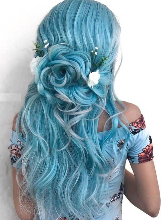 42 Elegant Blue Bridal & Wedding Hairstyles For 2018 | Mermaid Inside Mermaid Inspired Hairstyles For Wedding (View 15 of 25)