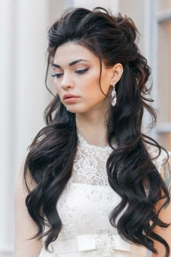 42 Half Up Half Down Wedding Hairstyles Ideas | » Hair – Beauty Pertaining To Voluminous Half Ponytail Bridal Hairstyles (View 2 of 25)